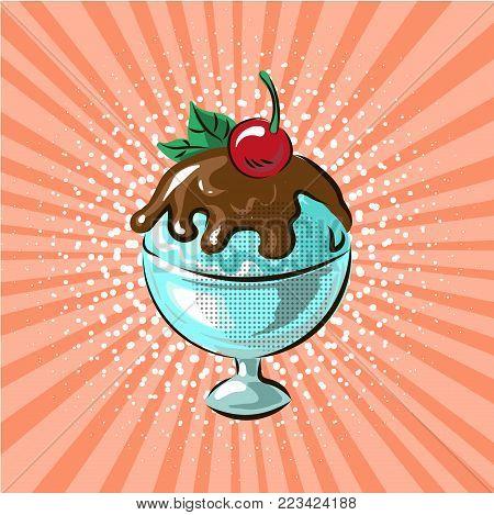 Ice cream in glass chocolate flavour pop art hand drawn vector illustration