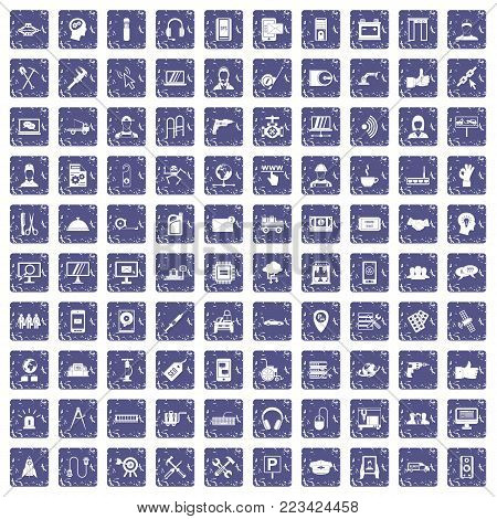 100 support center icons set in grunge style sapphire color isolated on white background vector illustration