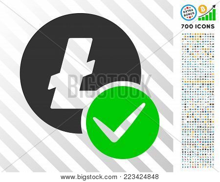 Valid Litecoin icon with 7 hundred bonus bitcoin mining and blockchain graphic icons. Vector illustration style is flat iconic symbols designed for cryptocurrency software.