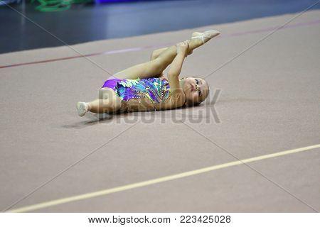 Orenburg, Russia - November 25, 2017 Year: Girls Compete In Rhythmic Gymnastics