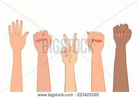 Women hands with painted nails. Symbol of women s protest of different nations. Clenched fist, stop gesture, victory sign. Vector illustration EPS-8.