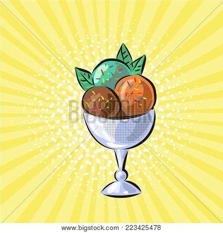 Ice cream in glass three flavours pop art hand drawn vector illustration art