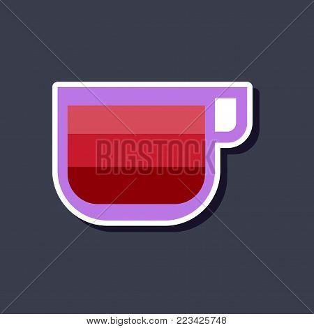 paper sticker on stylish background of coffee cup latte macchiato