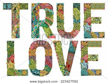 Hand-painted art design. Hand drawn illustration words true love for t-shirt and other decoration