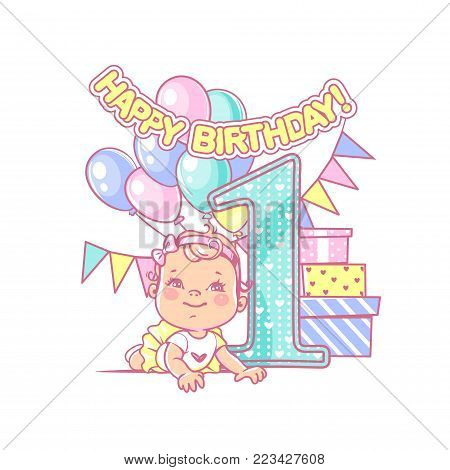 One year girl  near large number 1. First year celebration. Little girl's birthday. Cute toddler girl wearing tutu skirt. Air balloons, gifts, crown, bright color. Party. Vector illustration.