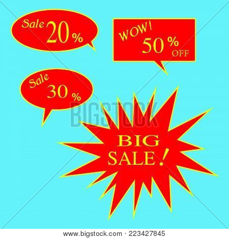 Vector set of discount 20, 30, 50 percent off Label. Sale  20%, 30%, 50% and BIG Sale Off Red Label.