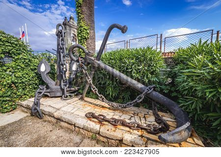 Old anchors, part of memorial of Heroes of Naval Battles on the Adriatic Sea in Herceg Novi, Montenegro poster
