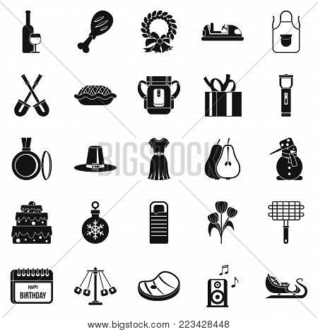 Family meeting icons set. Simple set of 25 family meeting vector icons for web isolated on white background