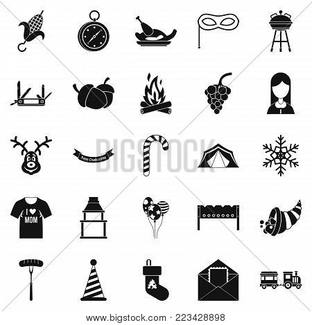 Family reunion icons set. Simple set of 25 family reunion vector icons for web isolated on white background