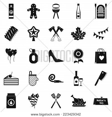 Family weekend icons set. Simple set of 25 family weekend vector icons for web isolated on white background