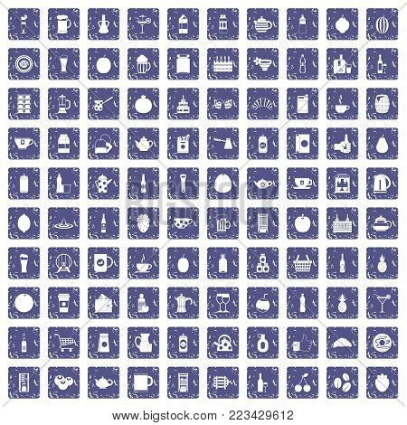 100 beverage icons set in grunge style sapphire color isolated on white background vector illustration
