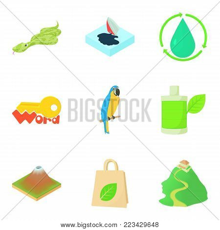 Green ecology icons set. Cartoon set of 9 green ecology vector icons for web isolated on white background