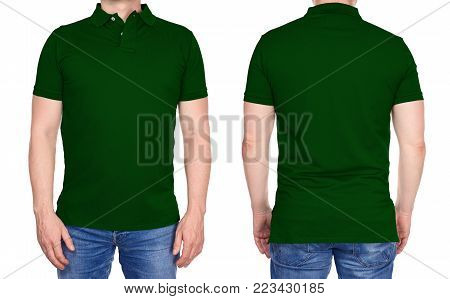 T-shirt Design - Man In Blank Pink Polo Shirt Isolated