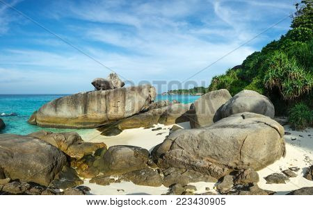 Landscape with beach and rocks on Similan islands, Thailand