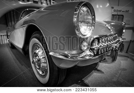 Lansing, Michigan, USA - January 20, 2018: Profile view of a vintage 1957 Corvette on display at the Michigan History Center Museum in downtown Lansing.