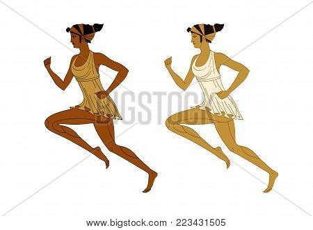 Running woman in the Greek style red-figured pottery. Vector. Isolated on white background