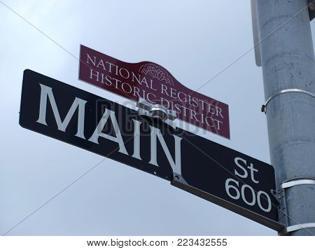 An addition to the Main Street sign has been made. The National Register of Historic Districts sign topper  is now in place.