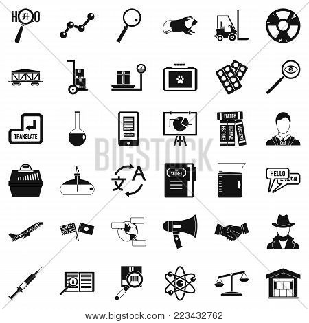 Scientific tool icons set. Simple set of 36 scientific tool vector icons for web isolated on white background