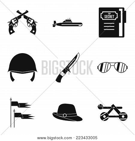 Weaponry icons set. Simple set of 9 weaponry vector icons for web isolated on white background