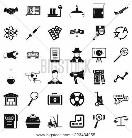 Scientific approach icons set. Simple set of 36 scientific approach vector icons for web isolated on white background