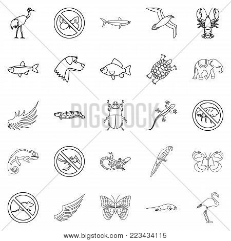 Coastal fauna icons set. Outline set of 25 coastal fauna vector icons for web isolated on white background