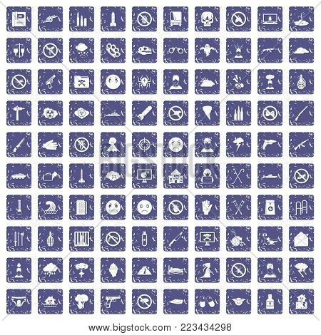 100 tension icons set in grunge style sapphire color isolated on white background vector illustration