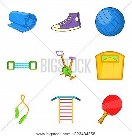Gymnasium icons set. Cartoon set of 9 gymnasium vector icons for web isolated on white background