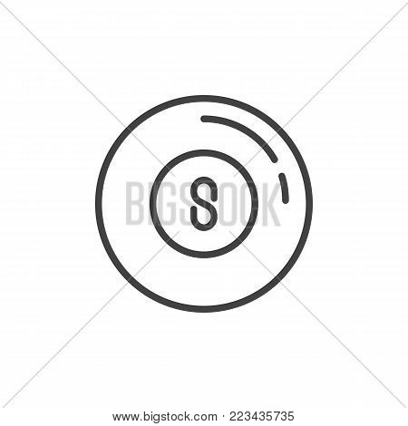 Pool ball line icon, outline vector sign, linear style pictogram isolated on white. Billiard eight ball symbol, logo illustration. Editable stroke