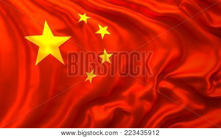 Flag of the Republic of China blowing in the wind. 3D illustration