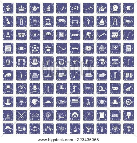 100 top hat icons set in grunge style sapphire color isolated on white background vector illustration
