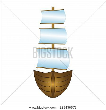 Fishing boat with sails - Vector design EPS10
