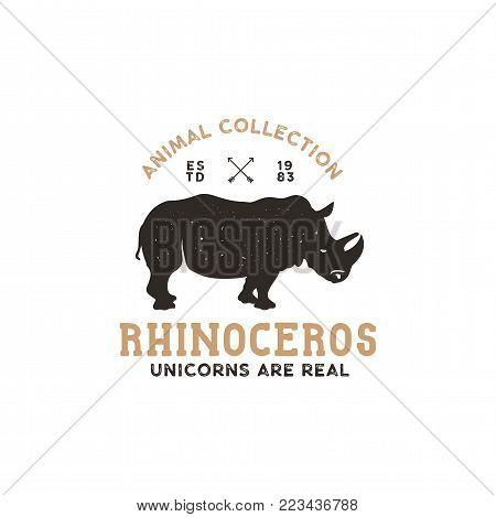 rhino wild animal logo template. Stock vector isolated.