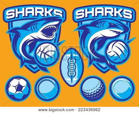 set of vector templates for sports badges with sharks and ball.
