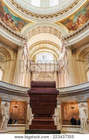 PARIS, FRANCE - November 2017: The tomb of Napoleon Bonaparte inside the Cathedral Les Invalides
