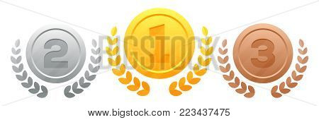 Gold, silver, bronze medals with a wreath vector illustration isolated on white background