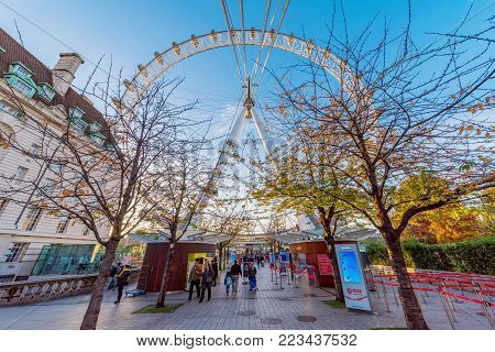 LONDON, UNITED KINGDOM - NOVEMBER 07: View of the London Eye ferris wheel, a famous attraction and landmark on November 07, 2017 in London