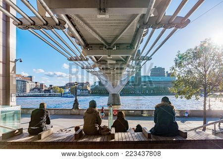 LONDON, UNITED KINGDOM - NOVEMBER 06: View of the famous Millenium Bridge and Thames River on November 06, 2017 in London