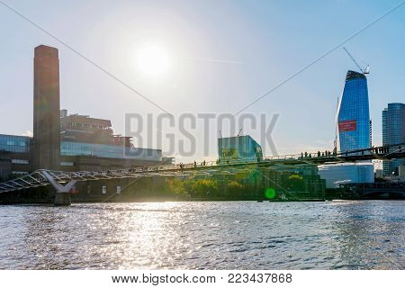 LONDON, UNITED KINGDOM - NOVEMBER 06: River Thames view with Millenium bridge and the Tate Modern museum on November 06, 2017 in London