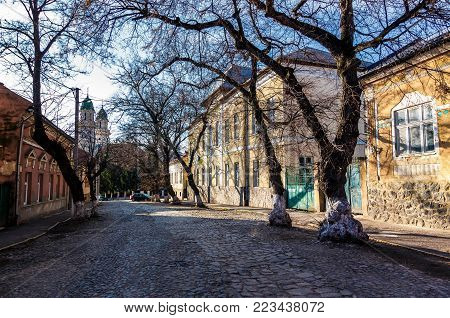 street of old town in sunny spring day. cobblestone road, beautiful architecture and old Cathedral in the distance