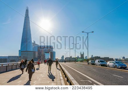 LONDON, UNITED KINGDOM - NOVEMBER 06: London bridge view on a sunny day with The shard buildng on November 06, 2017 in London