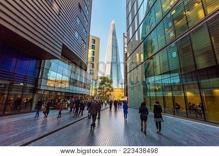 LONDON, UNITED KINGDOM - NOVEMBER 06: City of London financial district office area on November 06, 2017 in London
