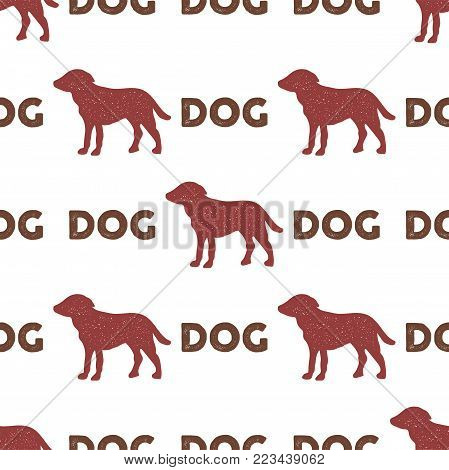 Year of the dog pattern. Symbol of 2018 seamless background. Dog icon and typography elements. Retro wallpaper. Stock vector illustration isolated on white background.