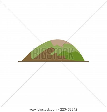 Low rounded hill icon in flat style. Mountain symbol isolated on white background
