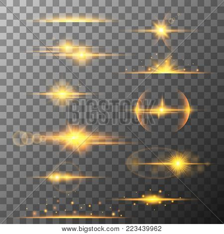 Collection of different horizontal yellow flare light effects. Lens flares, rays, stars and sparkles with bokeh collection. Vector transparent light effect