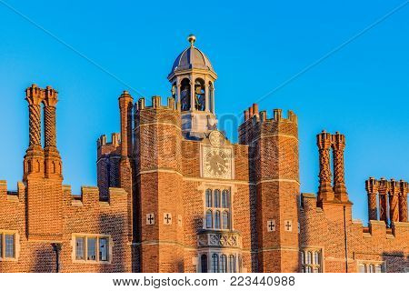 LONDON, UNITED KINGDOM - OCTOBER 28: Exterior architecture of the famous Hampton Court Palace, an historic landmark in Richmond on October 28, 2017 in London