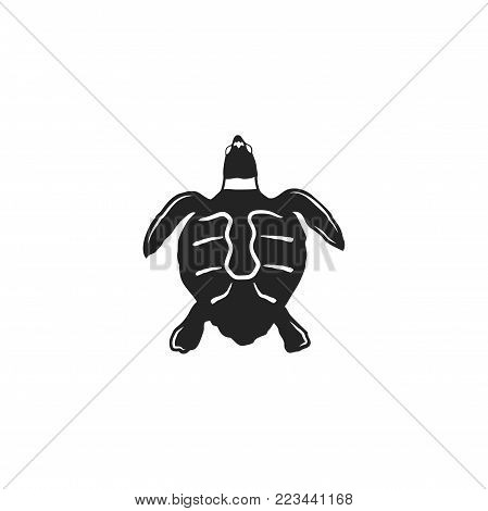 turtle silhouette shape. Wild animal black icon. Stock vector illustration. Vintage hand drawn style. Retro desgign.