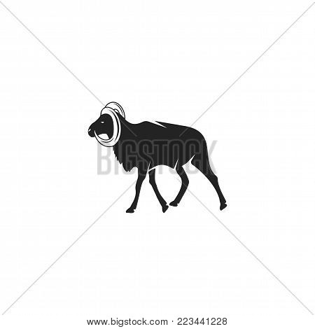 Wild Goat silhouette icon design. Wild animal black pictogram isolated. Stock vector concept.