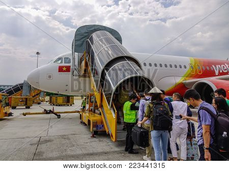 Aircraft Docking At Airport In Saigon, Vietnam