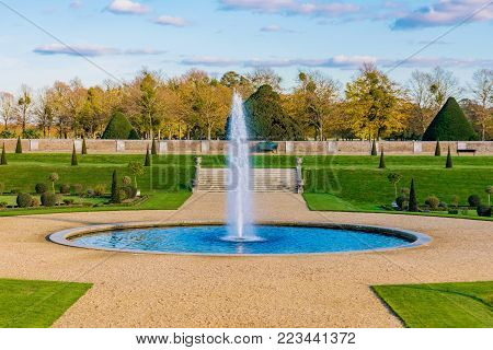 LONDON, UNITED KINGDOM - OCTOBER 28: Scenery and gardens of Hampton Court Palace, a historic palace in the Richmond area on October 28, 2017 in London