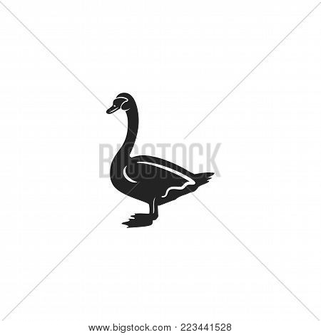 Swan silhouette shape. Vintage hand drawn wild animal icon, symbol isolated on white background. Stock vector illustration of animal.